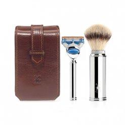 Coffret rasage Mühle avec pochette en cuir marron