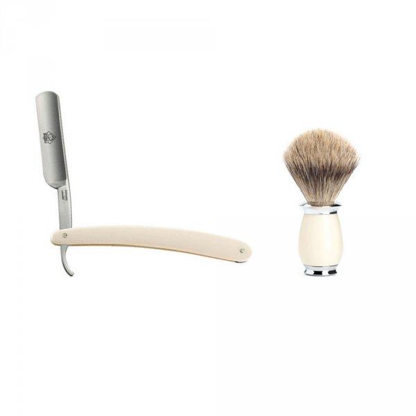 Coffret rasage homme coupe choux et blaireau ivoire