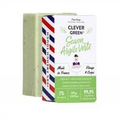 Savon solide surgras visage et corps à l'argile verte Monsieur Barbier Clever Green
